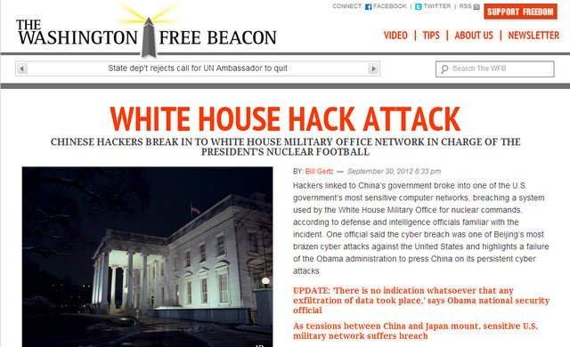 www.freebeacon.com alertó de ataque contra la Casa Blanca
