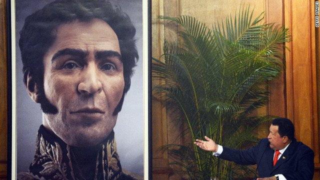 Hugo Chávez y reproducción de Bolívar