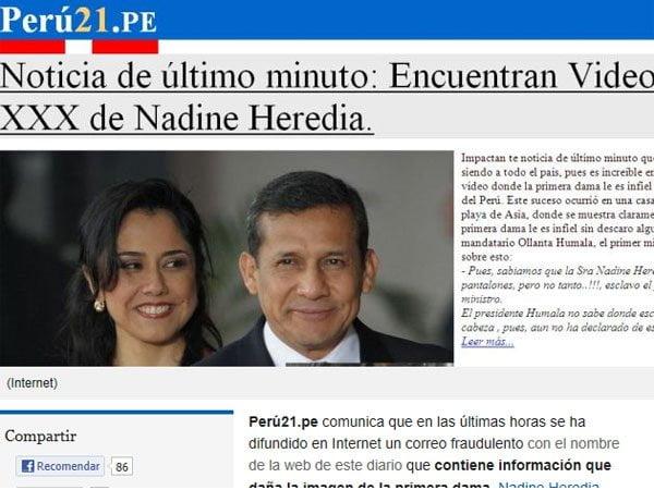 Falsa noticia sobre la esposa de Ollanta Humala con virus dentro
