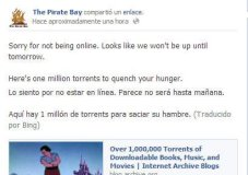 Mensaje en Facebook de The Pirate Bay