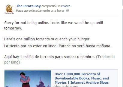 Mensaje en Facebook de The Pirate Bay