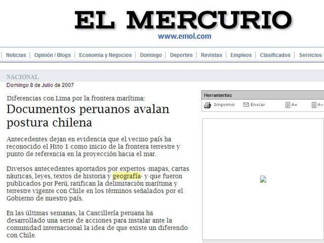 Publicación de El Mercurio en 2007, que cita pruebas mencionadas por abogado chileno