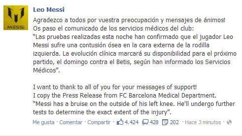 Cuenta Facebook de Lionel Messi