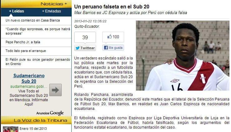Titular en la prensa ecuatoriana sobre Max Barrios (futbolecuador.com)