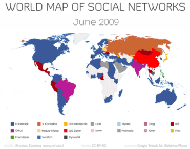 Así era el mapa de las redes sociales el 2009, note como HI5 dominada al Perú (fayerwayer.com)