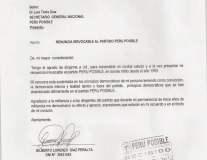 Carta de renuncia de Gilberto Díaz Peralta a Perú Posible