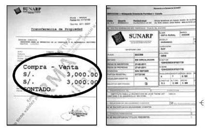 Registros públicos que revela compra de auto de Nadine Heredia