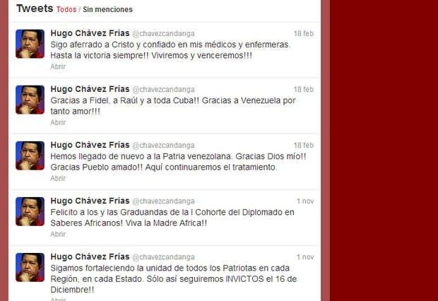 Hugo Chávez y sus últimos tuits