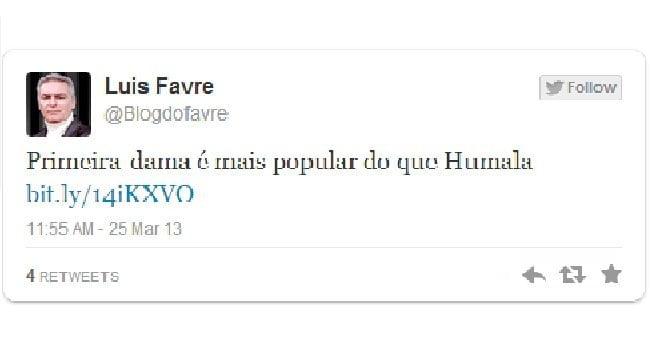 Luis Favre tuitea que Nadine Heredia es más popular que Ollanta Humala