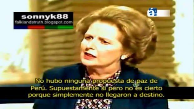 Margaret Thatcher hablando en TV del Perú