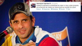 Henrique Capriles viajaría a Lima para reunión de Unasur