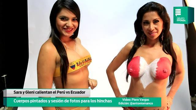 Para calentar el Perú vs Ecuador, cuerpos pintados (Video)