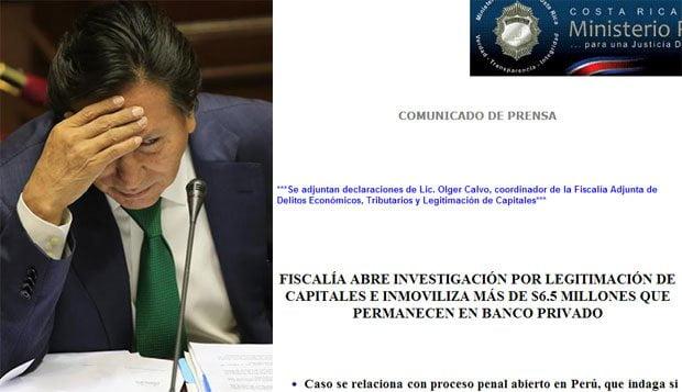 Costa Rica: Allegados a Alejandro Toledo tienen cuenta con US$ 6.5 millones