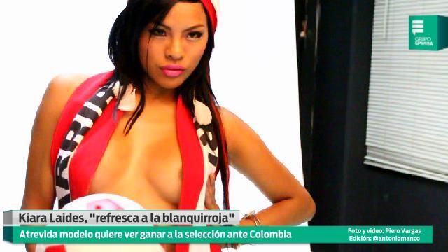 La espectacular Kiara refresca a hinchas para el Perú vs Colombia (Video Epensa)