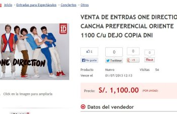 One Direction: Revenden entradas preferenciales 100% más caras por Internet