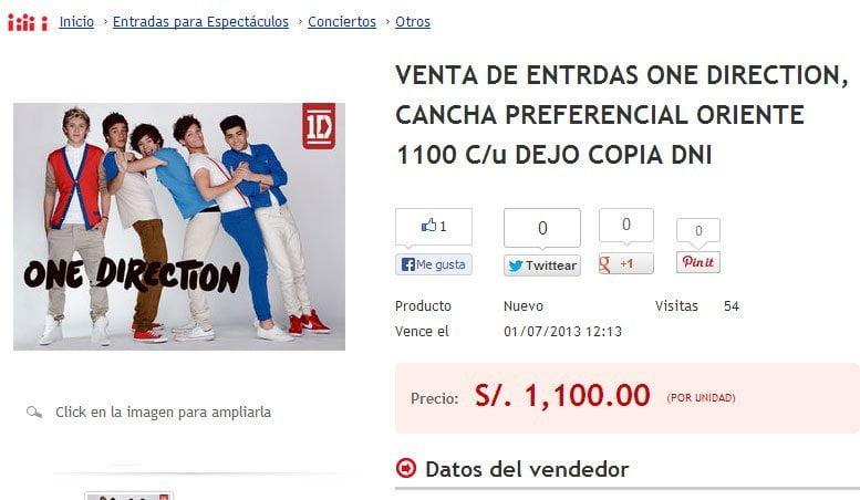 One Direction: Revenden entradas preferenciales 100% más caras por Internet