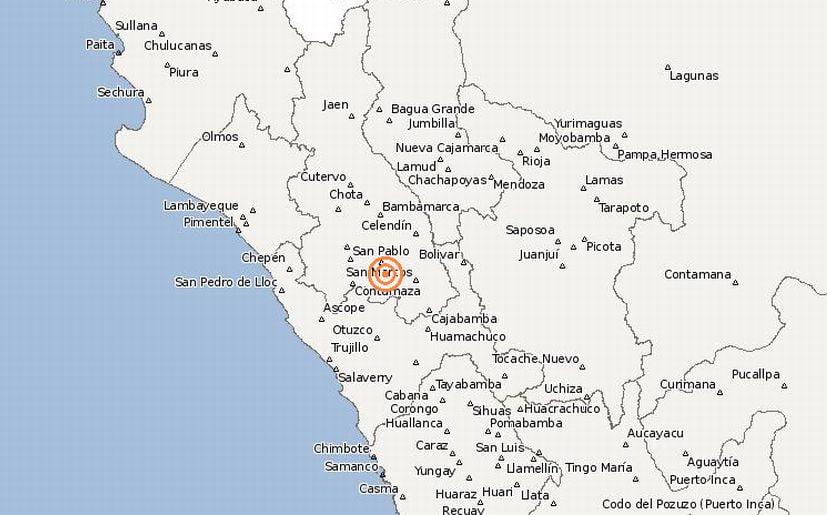 Sismo de 4 grados sacudió Bambamarca en Cajamarca