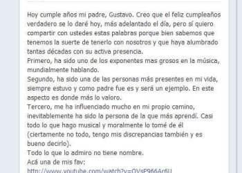 Gustavo Cerati cumple hoy 54 años y su hijo le deja emotivo mensaje