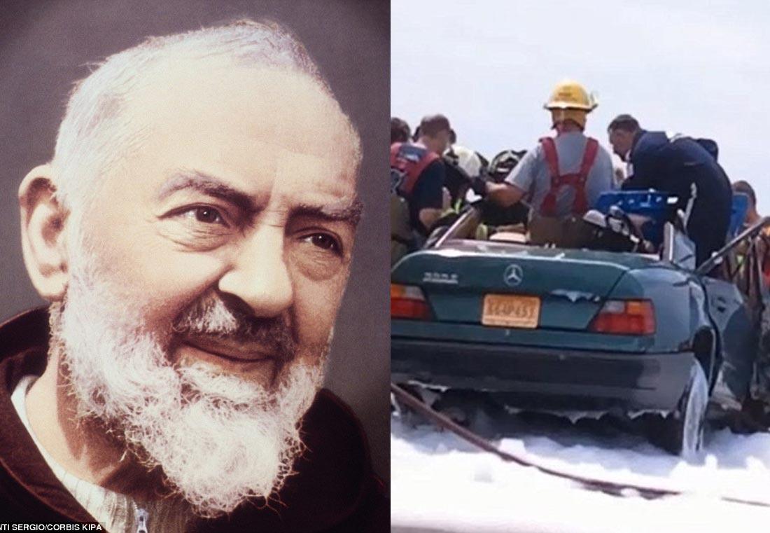 Atribuyen milagro al Padre Pío tras aparición en accidente (Video)