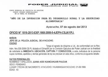 Ordenan captura de excongresista nacionalista Juana Huancahuari