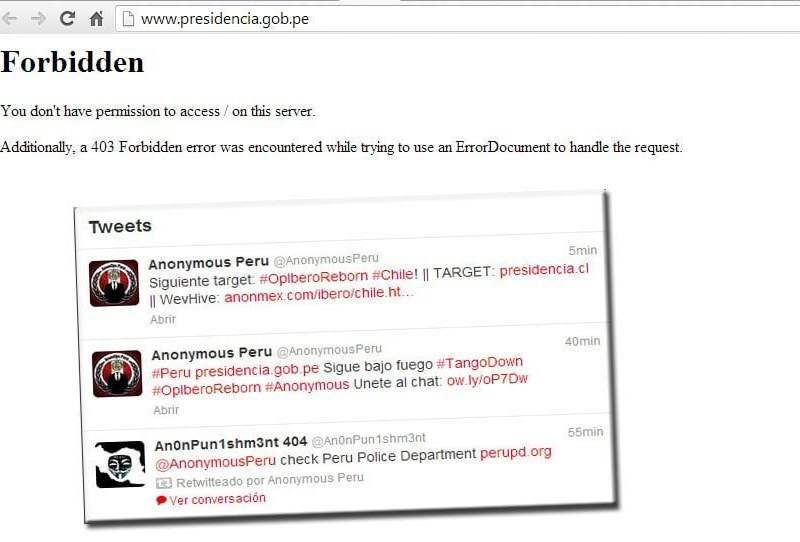 Anonymous ataca e inhabilita sitio web del gobierno peruano