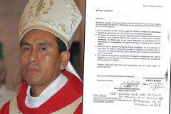 "CARTA / Obispo acusado de pedofilia: ""Fui imprudente pero no hay delito"""