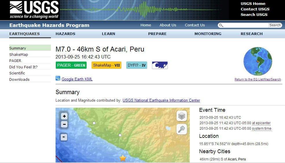 USGS eleva a 7.0 grados magnitud de sismo en el Perú