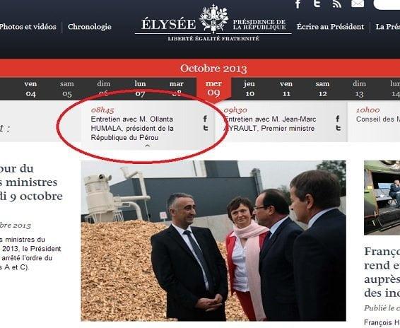Humala viaja a Francia y se reúne con Hollande sin autorización del Congreso