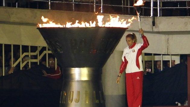 Natalia Málaga encendió la llama que se mantendrá viva hasta clausurarse los Juegos Bolivarianos Trujillo 2013.