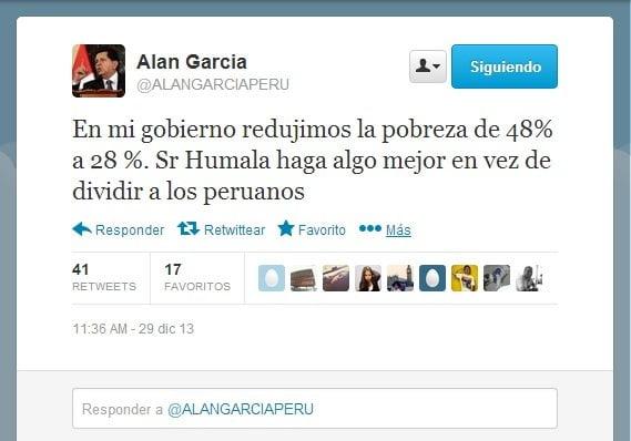 Alan García pide a Ollanta Humala