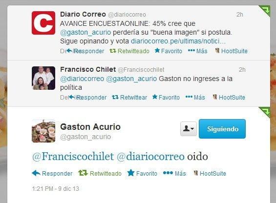 Chef Gastón Acurio aclara que no postulará y replica encuesta