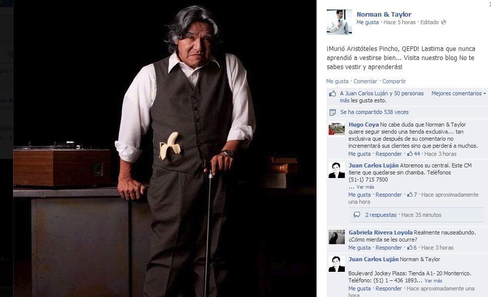 Publican desatinado post en Facebook tras muerte de Aristóteles Picho