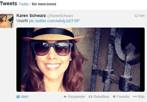 """Karen Schwarz tuitea """"vivir"""" tras declaración de Ezio Oliva sobre video íntimo"""