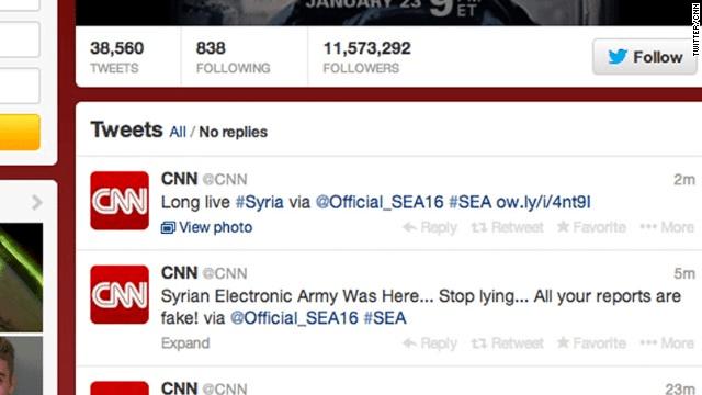 Twitter y Facebook de CNN hackeados por Ejército Electrónico Sirio