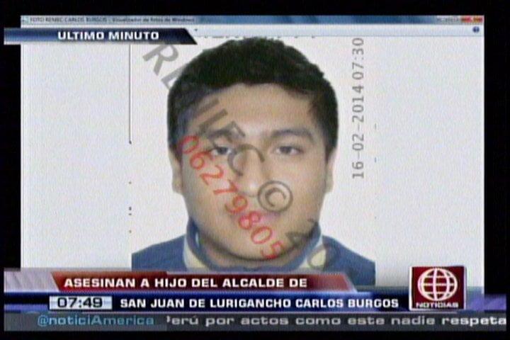 Asesinan al hijo del alcalde de SJL Carlos Burgos