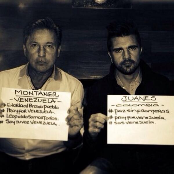 FOTO Twitter / Juanes y Ricardo Montaner rechazan represión en Venezuela