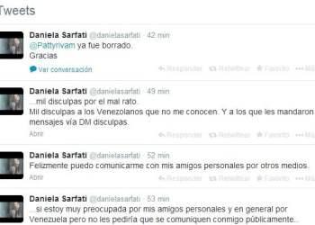 Daniela Sarfati se disculpa por tuit sobre Venezuela y dice que la hackearon