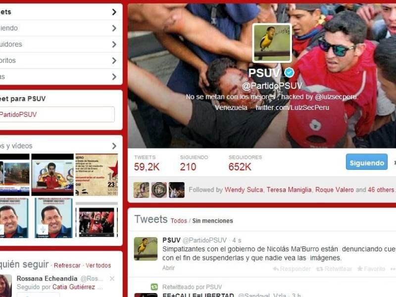 Foto Twitter / Twitter del partido de Maduro y Chávez es controlado por hackers peruanos