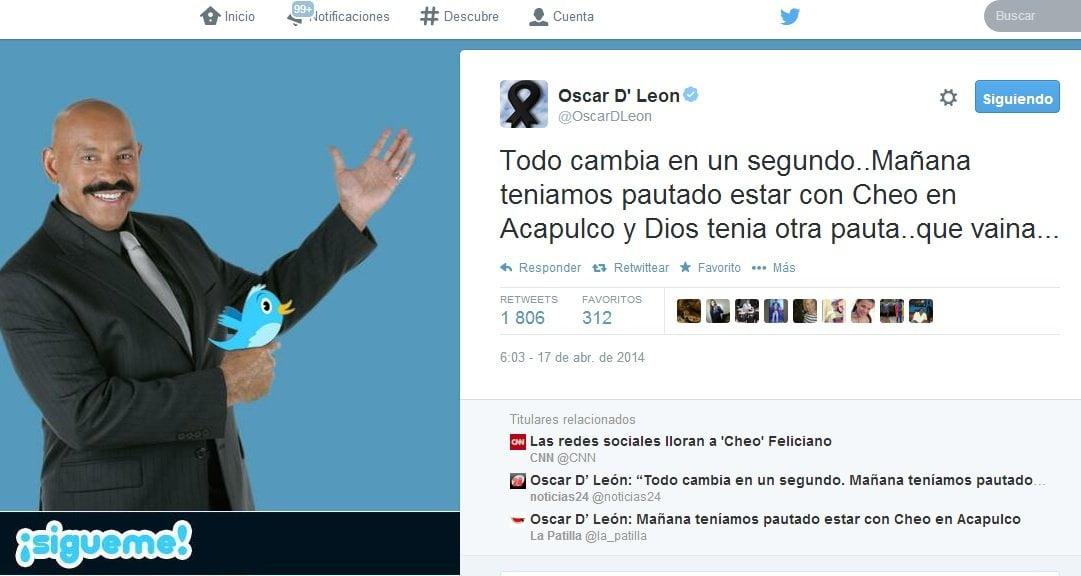 """Twitter / Oscar D'León: """"Íbamos a estar con Cheo en Acapulco, pero Dios tenía otra pauta"""""""
