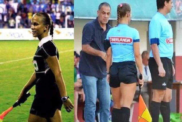 Video y fotos Olé / Brasil: Entrenador se excedió con bella jueza de línea en partido