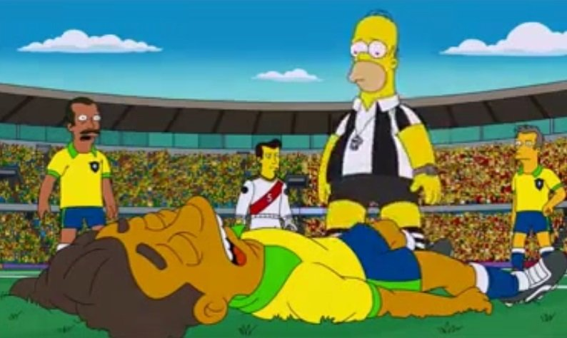 Foto Fox / [VIDEO] Brasil 2014 y los Simpson: Neymar se lesiona y Homero no le cree