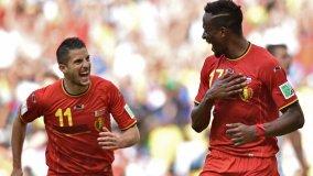 Origi celebra el gol que depositó finalmente a Bélgica en los octavos de final.