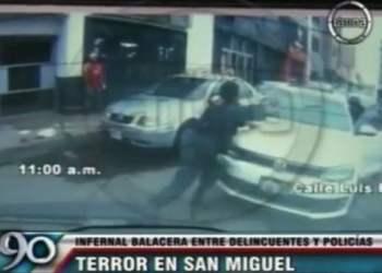 [VIDEO] Así fue la balacera entre delincuentes y policías en San Miguel