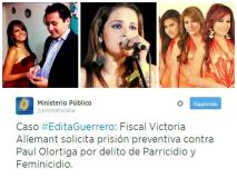 Feminicidio de Edita Guerrero: Fiscal pide prisión para viudo Paul Olortiga