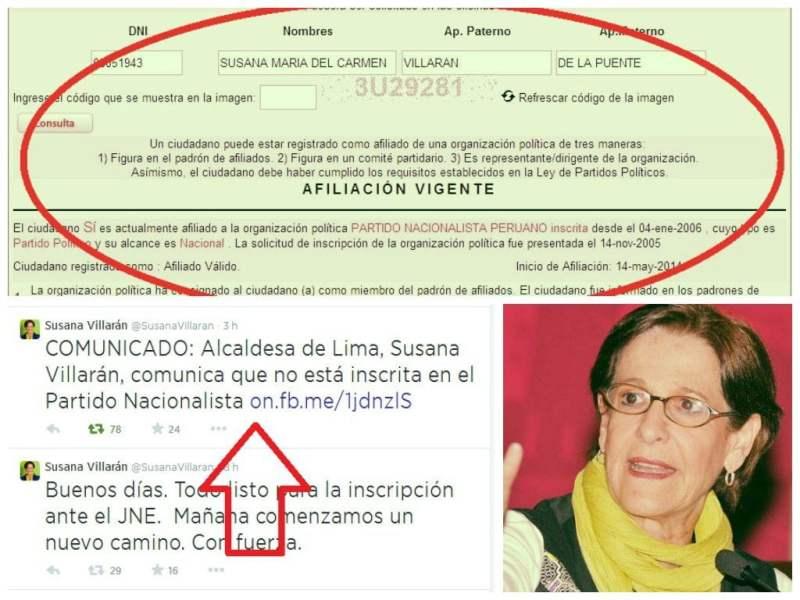 Susana Villarán aparece en portal del JNE como nacionalista pero ella lo niega