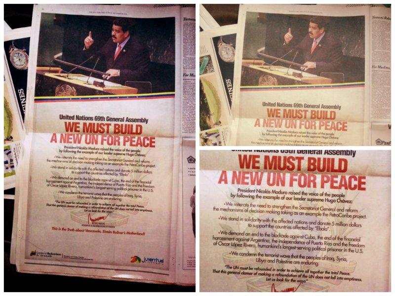 Insólito: Gobierno de Maduro publica aviso en The New York Times