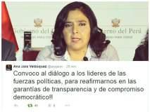Ana Jara llama al diálogo a líderes políticos