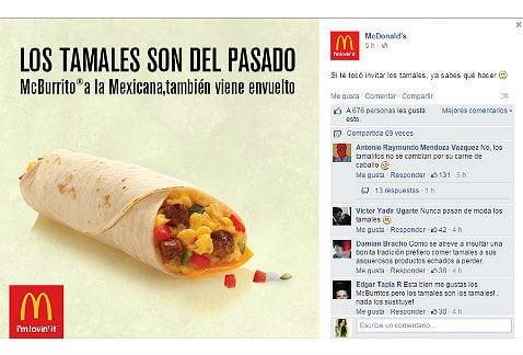 """McDonald's dijo los tamales """"son del pasado"""" y ofendió a mexicanos"""