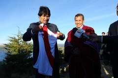 Evo Morales se pone la camiseta peruana ad portas del Perú vs Bolivia