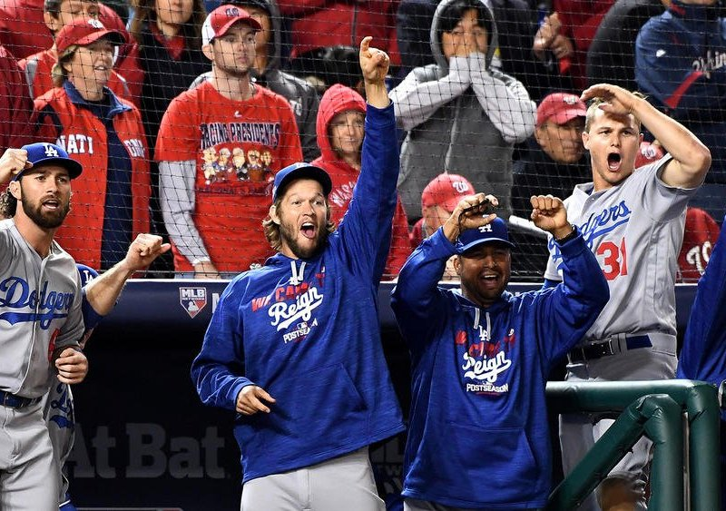 Los Dodgers celebraron en Washington su acceso a la Serie de Campeonato